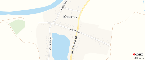 Улица Мира на карте деревни Юрактау с номерами домов