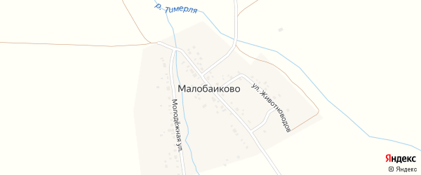 Улица Механизаторов на карте деревни Малобаиково с номерами домов