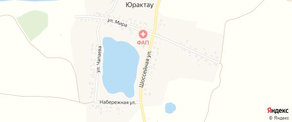 Шоссейная улица на карте деревни Юрактау с номерами домов