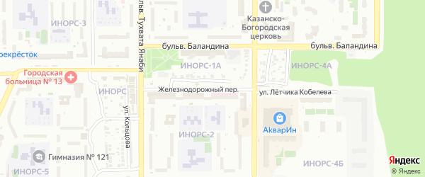 Железнодорожный переулок на карте Уфы с номерами домов