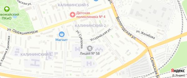 Уссурийская улица на карте Уфы с номерами домов