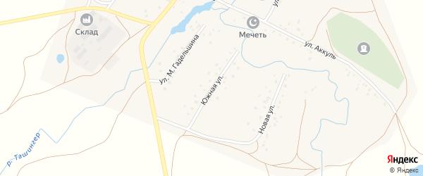Южная улица на карте деревни Карламана с номерами домов