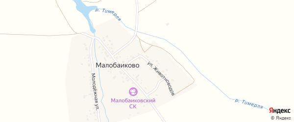 Улица Животноводов на карте деревни Малобаиково с номерами домов