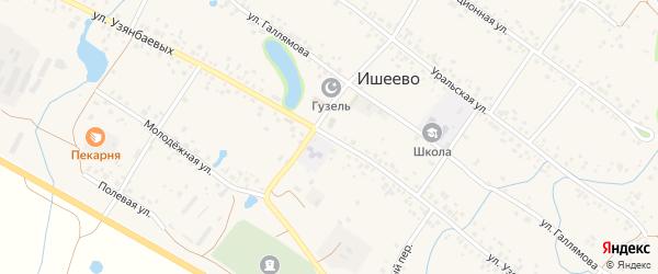 Улица Узянбаевых на карте села Ишеево с номерами домов