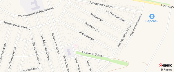 Ясеневая улица на карте села Нагаево с номерами домов