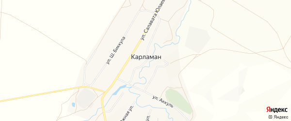 Карта деревни Карламана в Башкортостане с улицами и номерами домов
