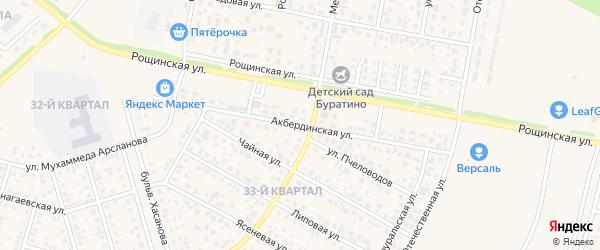 Акбердинская улица на карте села Нагаево с номерами домов