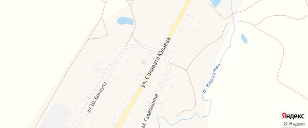 Улица С.Юлаева на карте деревни Карламана с номерами домов