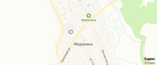 Галечная улица на карте села Федоровки с номерами домов