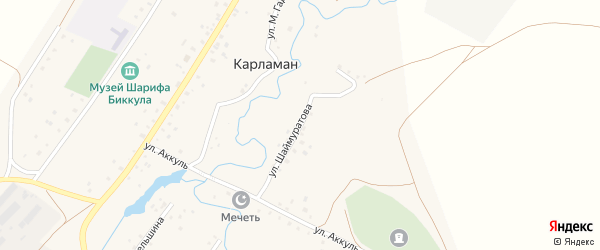 Улица Шаймуратова на карте деревни Карламана с номерами домов