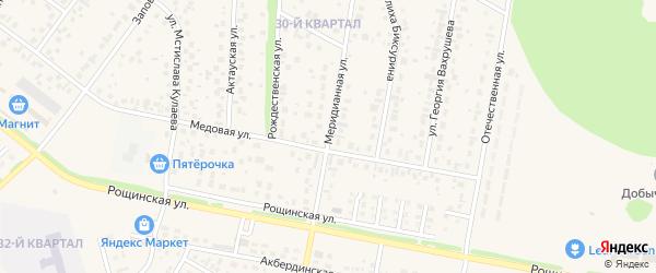 Меридианная улица на карте села Нагаево с номерами домов