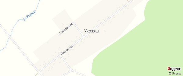 Лесная улица на карте деревни Укозяша с номерами домов