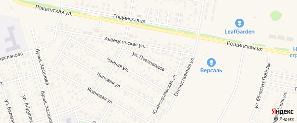 Улица Пчеловодов на карте села Нагаево с номерами домов
