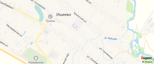 Улица Галлямова на карте села Ишеево с номерами домов