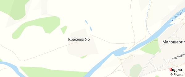 Карта хутора Красного Яра в Башкортостане с улицами и номерами домов