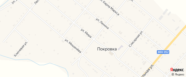 Улица Мира на карте села Покровки с номерами домов