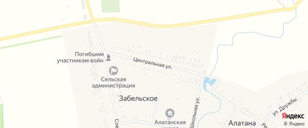 Центральная улица на карте Забельского села с номерами домов