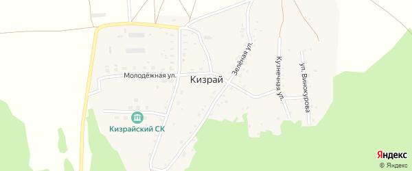Зеленая улица на карте деревни Кизрая с номерами домов