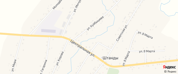 Центральная улица на карте деревни Штанд с номерами домов