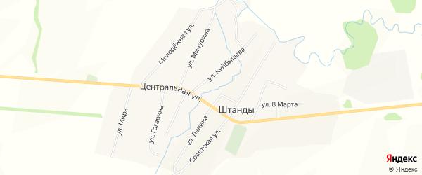 Карта деревни Штанд в Башкортостане с улицами и номерами домов