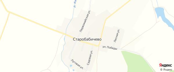 Карта деревни Старобабичево в Башкортостане с улицами и номерами домов