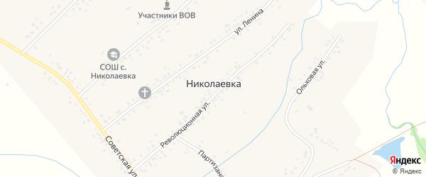 Партизанская улица на карте села Николаевки с номерами домов