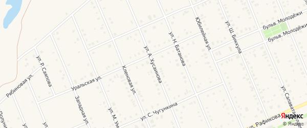 Улица А.Хусаинова на карте села Кармаскалы с номерами домов