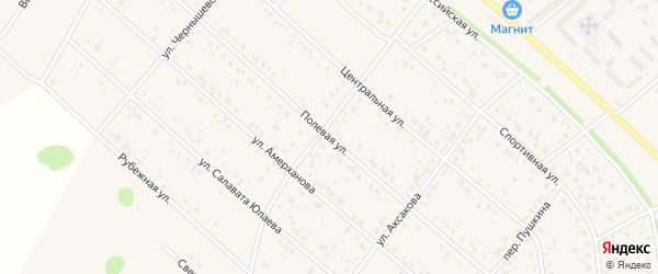 Полевая улица на карте деревни Кабаково с номерами домов