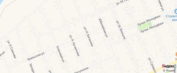 Улица Н.Батанова на карте села Кармаскалы с номерами домов
