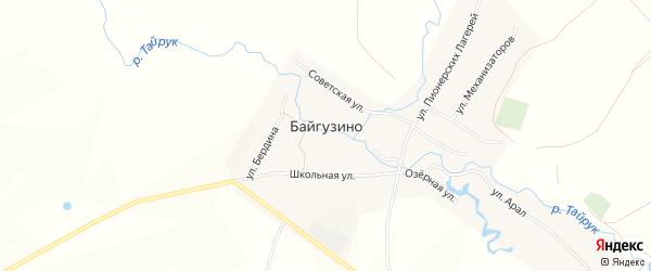 Карта деревни Байгузино в Башкортостане с улицами и номерами домов