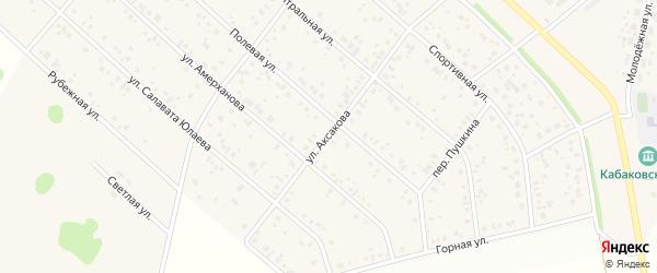 Улица Аксакова на карте деревни Кабаково с номерами домов