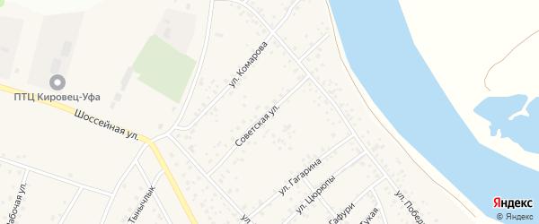 Советская улица на карте деревни Кабаково с номерами домов