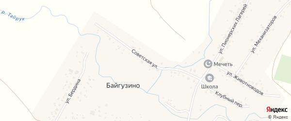 Советская улица на карте деревни Байгузино с номерами домов
