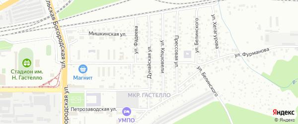 Дунайская улица на карте Уфы с номерами домов