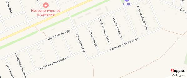 Сосновая улица на карте села Кармаскалы с номерами домов