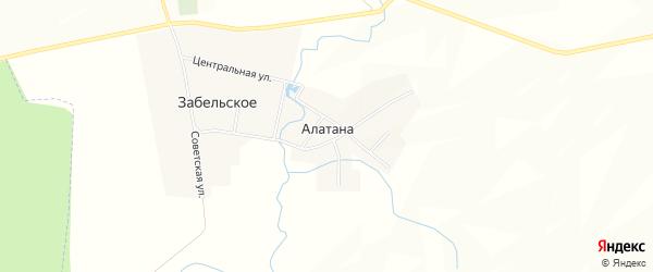Карта села Алатаны в Башкортостане с улицами и номерами домов