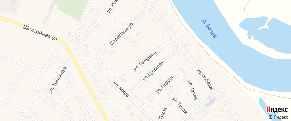 Улица Гагарина на карте деревни Кабаково с номерами домов