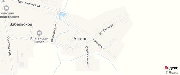 Речная улица на карте села Алатаны с номерами домов