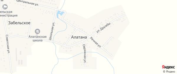 Улица Дружбы на карте села Алатаны с номерами домов