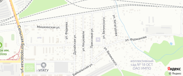 Прессовая улица на карте Уфы с номерами домов