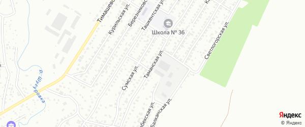 Таманская улица на карте Уфы с номерами домов