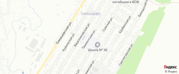 Ташкентская улица на карте Уфы с номерами домов