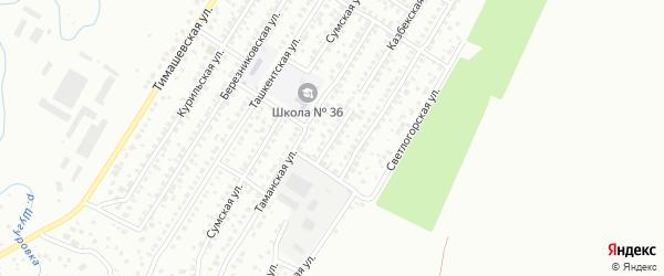 Казбекская улица на карте Уфы с номерами домов