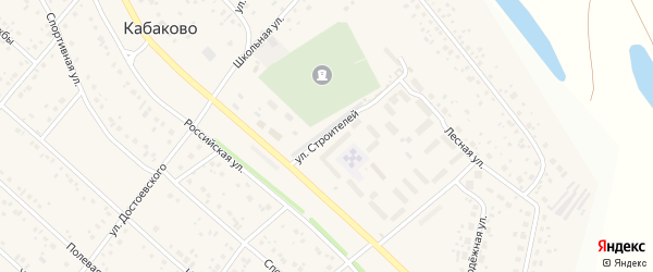 Улица Строителей на карте деревни Кабаково с номерами домов