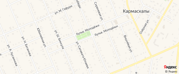 Бульвар Молодежи на карте села Кармаскалы с номерами домов