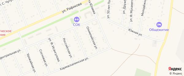 Олимпийская улица на карте села Кармаскалы с номерами домов