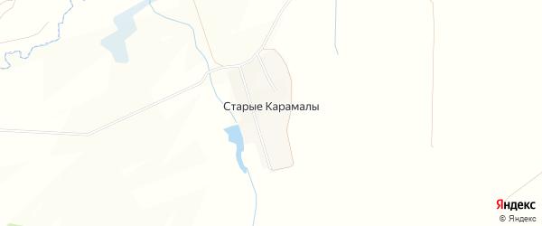 Карта деревни Старые Карамалы в Башкортостане с улицами и номерами домов