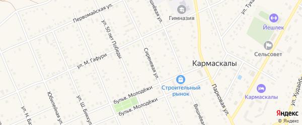 Сиреневая улица на карте села Кармаскалы с номерами домов