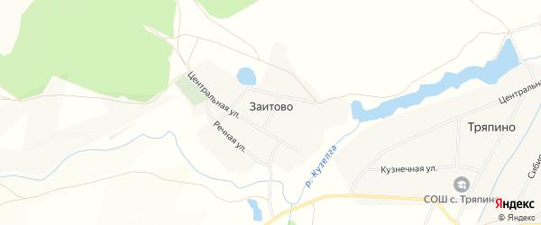 Карта деревни Заитово в Башкортостане с улицами и номерами домов