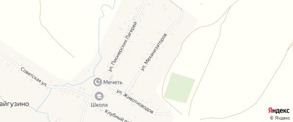 Улица Механизаторов на карте деревни Байгузино с номерами домов